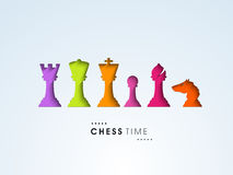 Concept of chess time with colorful figures. Royalty Free Stock Image