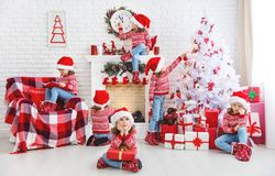 Concept. child girl waiting for christmas at home Royalty Free Stock Image