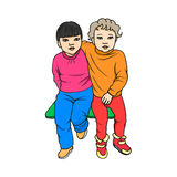The concept childhood friendship. Vector illustration of two little cute beautiful child sitting on the bench. Cartoon picture  on white background. The concept Stock Images
