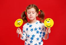 Concept of children`s emotions. child girl chooses between a sad Royalty Free Stock Photography