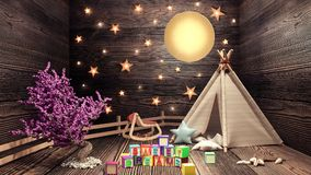Concept of children`s room, sweet dreams and good night Royalty Free Stock Images