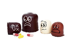 Concept children should not play with drugs. Concept caution, children should not play with drugs Stock Image