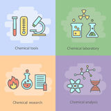 Concept chimique de laboratoire avec la verrerie d'instrumentation et le vecteur de réactions d'expériences Photos libres de droits