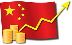 China economic growth. Concept with the Chinese flag with arrow indicating economic growth Royalty Free Stock Images