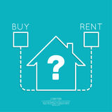 Concept of choice between buying and tenancy Stock Photos