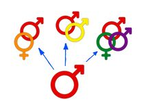 Concept of choice or gender symbol confusion with rainbow arrows, couple selection. Concept of choice or gender symbol confusion, choosing between genders with vector illustration