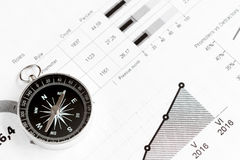 Concept of choice way in business compass top view Stock Photos