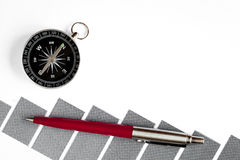 Concept of choice way in business compass top view Stock Images