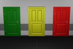 Concept - choix, trois portes Photographie stock