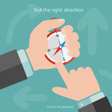 The concept of choosing the correct direction. Business man hands with compass.the concept of choosing the correct direction in the Affairs of.not the right Royalty Free Stock Images