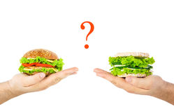 The concept of choosing between harmful junk food and natural he Royalty Free Stock Image