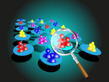 Concept of choosing a success team with magnifier Stock Photos