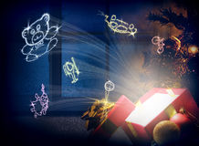 Concept of Christmas gifts for children horizontal composition Stock Images