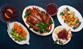 Concept of Christmas or New Year dinner. Top view. stock photos