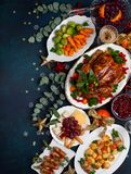 Concept of Christmas or New Year dinner. Top view. royalty free stock photos