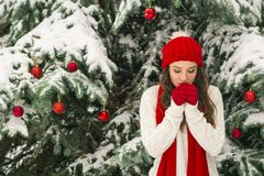 The concept of Christmas and the new year. Winter vibes. The girl in the red and gloves hat near the festive Christmas tree. Copy space. Portrait stock photos