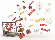 Concept of Christmas online shopping Stock Photos