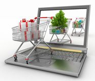 Concept of Christmas online shopping Stock Photo