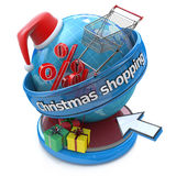 Concept of Christmas online shopping Stock Images