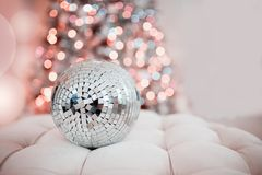 Concept Christmas, party. Disco ball royalty free stock photos