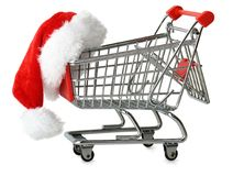 Santa hat on a shopping cart Royalty Free Stock Photo
