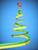 Concept christmas tree with red star at blue background. Close up Royalty Free Stock Images