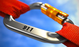 911 Concept on Chrome Carabiner Hook. Chrome Ropes Connected by White Carabiner Hook with number 911. Help Concept. Selective Focus royalty free stock image