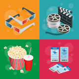 Concept cinema banners. Realistic Cinema concept with movie theatre elements. Movie poster template with film reel. Drink, popcorn, 3D glasses, tickets Royalty Free Stock Photos