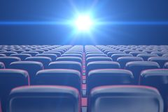Concept cinema, shining blue color in movie theater. Rows of chairs with empty seats. 3d illustration vector illustration