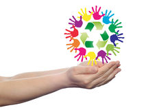 Concept circle of hands, green recycle symbol Royalty Free Stock Photography