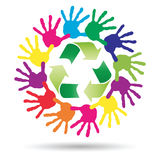 Concept circle of hands, green recycle symbol Stock Image