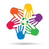 Concept circle of hands, green recycle symbol Royalty Free Stock Photos
