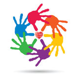 Concept circle of hands, red heart love symbol Stock Photos