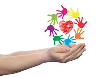 Concept circle of hands, red heart love symbol Royalty Free Stock Photos
