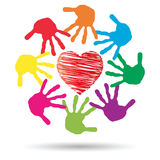 Concept circle of hands, red heart love symbol Royalty Free Stock Image