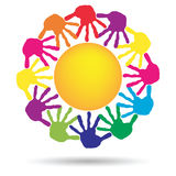 Concept circle of hands, yellow sun symbol Royalty Free Stock Images