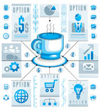 Concept circulaire d'Infographics avec la tasse de pièce en t ou de café, aspiration 3d Photographie stock libre de droits
