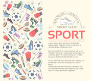 Concept circulaire de fond d'article de sport outils de style de vie avec le dispositif, l'équipement et les articles de gymnase  Photo stock