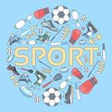 Concept circulaire de fond d'article de sport outils de style de vie avec le dispositif, l'équipement et les articles de gymnase  Photos stock