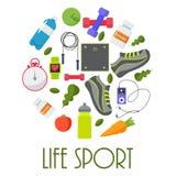 Concept circulaire des sports, forme physique, équipement sain de mode de vie Photos stock