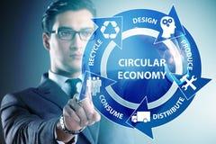 The concept of circular economy with businessman. Concept of circular economy with businessman stock photos