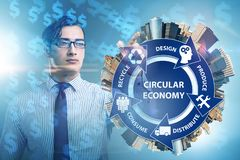 The concept of circular economy with businessman. Concept of circular economy with businessman stock photography