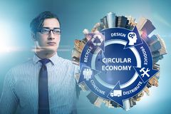 The concept of circular economy with businessman royalty free stock photography
