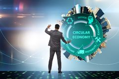 Concept of circular economy with businessman royalty free stock photos