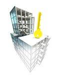 Concept clé d'Access du finissage architectural de plan de bâtiment Photos stock