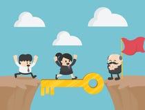 Concept clé de réussite commerciale comme groupe de personnes fonctionnement Busine illustration libre de droits