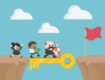 Concept clé de réussite commerciale comme groupe de personnes fonctionnement Busine illustration stock