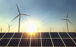 concept clean energy power in nature. solar panel and wind turbine with sun stock images