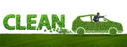 The concept of clean fuel and eco friendly cars. Concept of clean fuel and eco friendly cars stock images