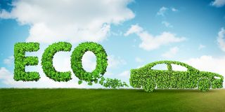 The concept of clean fuel and eco friendly cars - 3d rendering Royalty Free Stock Photography